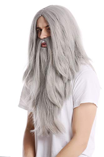 WIG ME UP - PW0210-ZA68E Perruque Longue et Barbe Grise Hall